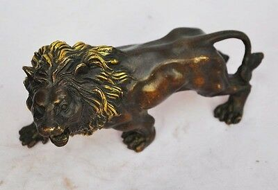 185mm Chinese Handmade Old Copper Gilt Lion Statue