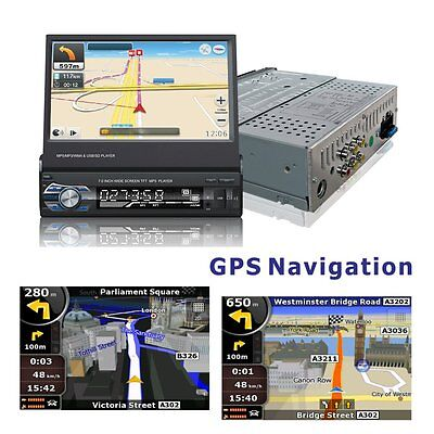 "7"" Single 1Din Autoradio Auto Stereo Gps Navigation Usb/sd Bluetooth Aux In Dash"