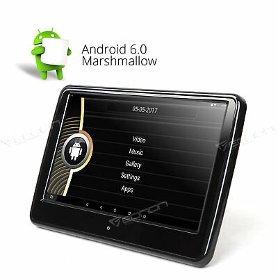 """Active Headrest 10.1"""" 1366*768 Quad Core Android 6.0 Car Monitor Headset Jack W"""