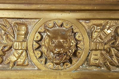 Fireplace Fender Skirt Gothic Design WOLF Head Brass 1884 Antique
