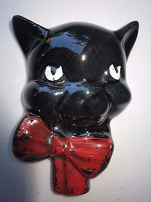 Vintage JJ Ceramics Australian Pottery Black Cat Wall Hanging Decoration