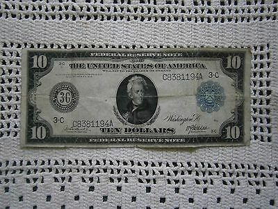 Large 1914 $10 Dollar Bill Federal Reserve Note Big Paper Money Currency