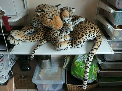 Large Giant Wild Animal Leopard w Baby Cub Soft Plush Stuffed Cuddly Kids Toy Ho