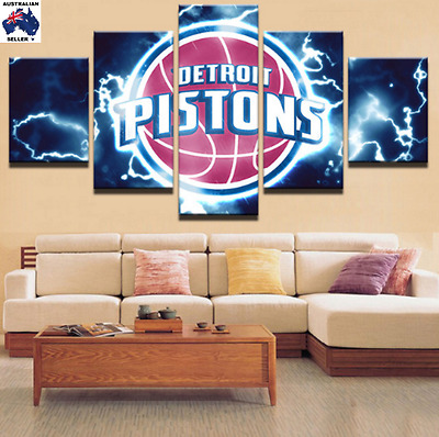 Detroit Pistons Modern Canvas Wall Art Picture Landscape (5piece)