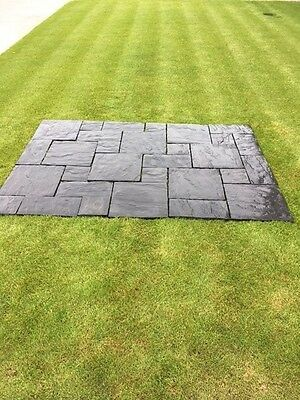 Concrete Riven Patio Paving Slabs (Charcoal Mixed Patio Pack 6.3m2)