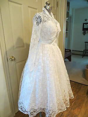 Vintage 50's Lace Tulle Satin  Cupcake Wedding Prom Tea Length Gown