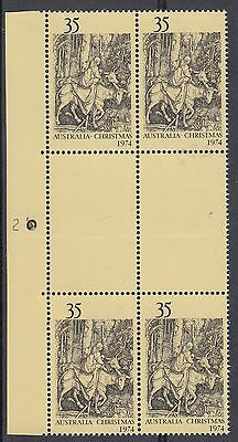 """1974 35¢ Xmas SG 581 Bright Buff Paper BW 681B """"PLATE NUMBER 2 – LEFT"""" BW 681z"""