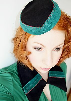 hand made 1930's 1940's vintage dress COLLAR & matching HAT black green
