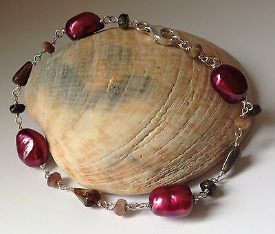 Gorgeous 925 Sterling Silver Bracelet With Pink Freshwater Pearls And Gemstones