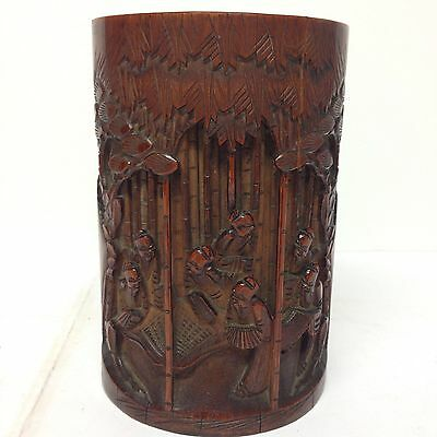 Chinese Carved Bamboo Brush Pot Old Men (figures) In The Trees 15.5cm High