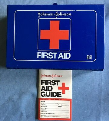 Vintage Original Johnson and Johnson First Aid Metal Box #8161 With Guide Book