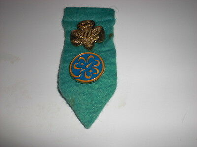Vintage Girl Scout Eagle Shield Design - Gold Tone, Clasp Pin  and Trefoid