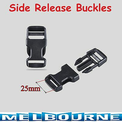 25mm Plastic Side Quick Release Black Buckle Clip Cord Strap Backpack Bag Safety