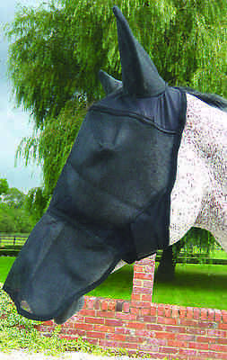 Mark Todd Full Face Fly Mask With Ears Black Pony Size