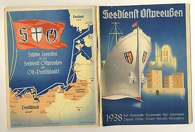 Vintage ship steamer timetable - Seedienst Ostpreussen - Germany Poland - 1938