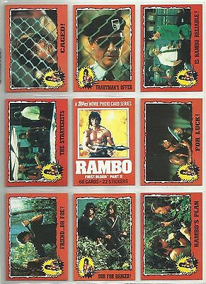 Rambo - Complete Sticker Trading Card Set (66/22) - 1985 TOPPS - NM