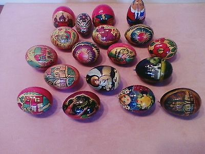 Wood Lacquer Eggs Foke Art Eggs Lot of 16 (5 Signed)  Churches Animals Flowers
