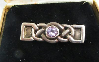 Vintage Scottish Brooch, Stamped 925 Silver, With Faceted Amethyst, Art Nouveau