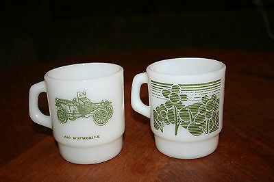 Vintage Fire King Anchor Hocking Mugs Two Green Pattern Mugs Old Cars & Flowers