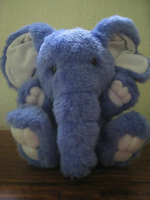 "Lovely Blue elephant soft stuffed toy animal 8"" - Excellent condition  CE marked"