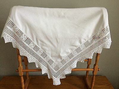 Vintage White Linen Tablecloth With Deep Crocheted Lace Border ~ Vintage Decor