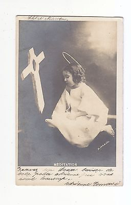 Charming Postcard Of A Girl With A Halo H Manuel (Meditation)