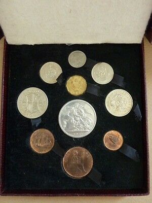 Uk 1951 Festival Of Britain 10 Coin  Proof Year Set In Maroon Box