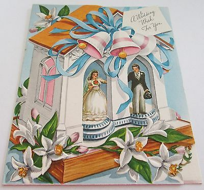 Used Vtg Wedding Card Bride & Groom on Cake through Cut Out Church Windows