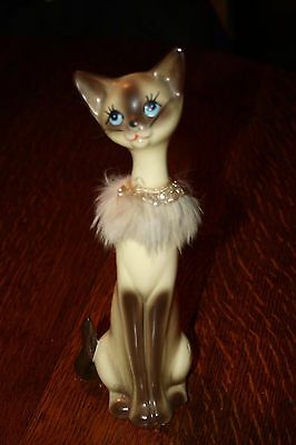 Vintage Japan Cat Figurine Tall Ceramic Makers Stamp on Bottom G Collectible Cat