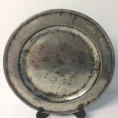 "Antique Polished Pewter Charger 16.5"" (41.4cm In Diameter) Initialed ""M R"""