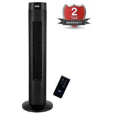 ANSIO Black Oscillating Tower Fan with Remote Control and 3-Speed 3-Wind Mode