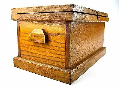 Antique Solid Oak Tool Box Vintage Toolbox Chest Nice Patina