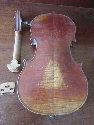 ANTIQUE STRADIVARIUS LABEL VIOLIN. 33.5 cm. needs repair, PART MISSING