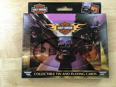 Harley Davidson Collectors Tin with 2 decks of Playing Cards