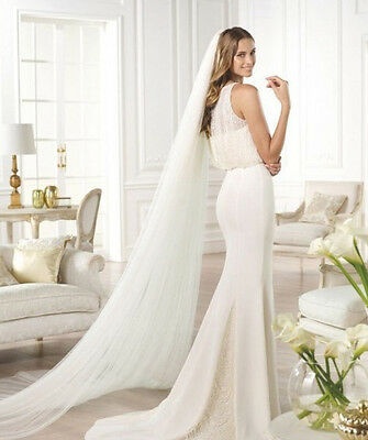 New 1T 2m Ivory Wedding Bridal Long Veil Cathedral With Comb Clear Cut Veils