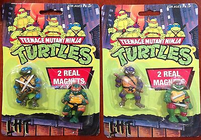 Vintage TMNT Fridge Magnets Two Packs All Four Turtles Rare And Unopened