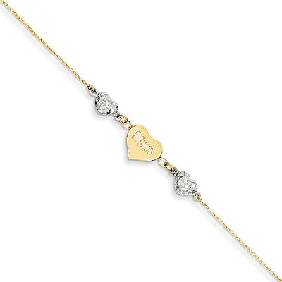 Diamond-Cut Puffed and Mom Heart Anklet in 14K Two-Tone Gold, 9 Inch