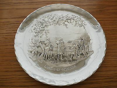 """1972 Sterling Silver Plate """" Landing Of Columbus"""" Limited Edition- America House"""