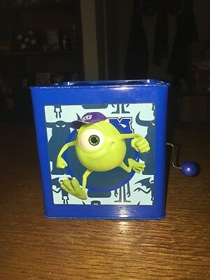 MIKE Jack In The Box Disney Monsters Inc University Tin Musical Toy