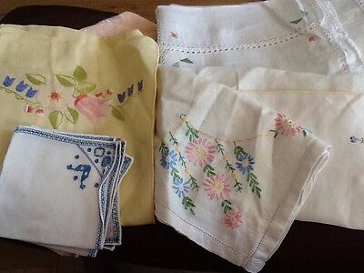 Vintage Unsorted Embroidered Table Linen