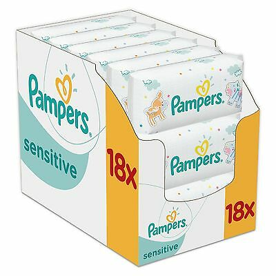 Pampers Sensitive Baby Wipes Pack of 18 Total 1008 Wipes Wet Fresh Tub New Clean