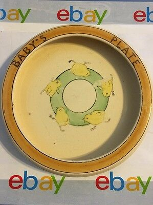 Old vintage/antique? BABY'S PLATE ~ adorable chickens running in a circle