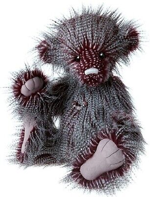 """FIZZY WHIZZ by Charlie Bears CB140038 19"""" Plum/White/Grey Jointed Plush - NEW!"""