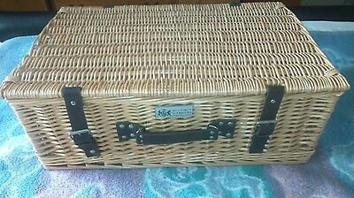 """Regency Hampers EXTRA LARGE wicker picnic basket with leather straps 24""""X15""""X9.5"""