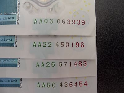 4 X AA SERIES NEW POLYMER 5 POUND NOTES With Various Serial Numbers.