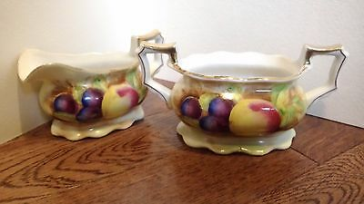 Occupied Japan Sugar Bowl & Creamer Hand Painted Fruits 1950's gold trim thistle