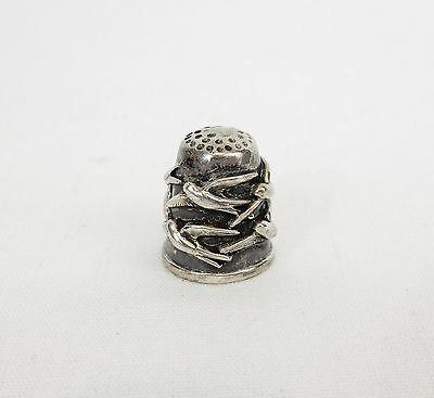 Antique/Vtg Sterling Silver Thimble With Birds Marked 925 & Maker RED