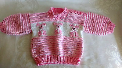 Hand Knitted Baby Girl Striped Pink Cardigan Sweater With Bunnies Size 6M NEW