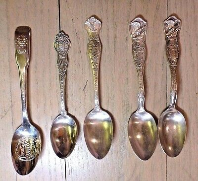 Vintage Antique Lot of 5 New Jersey Silver Plate Spoons Various Bicentennial NJ