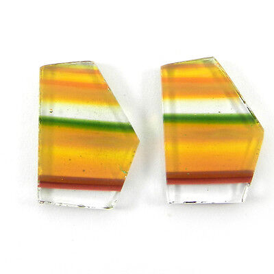 1 Pair Mexican Glass Gemstone 14x21mm Fancy Cab 17.1 Cts Stone ER8989